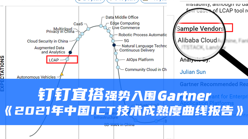 钉钉宜搭强势入围Gartner《2021年中国ICT技术成熟度曲线报告》